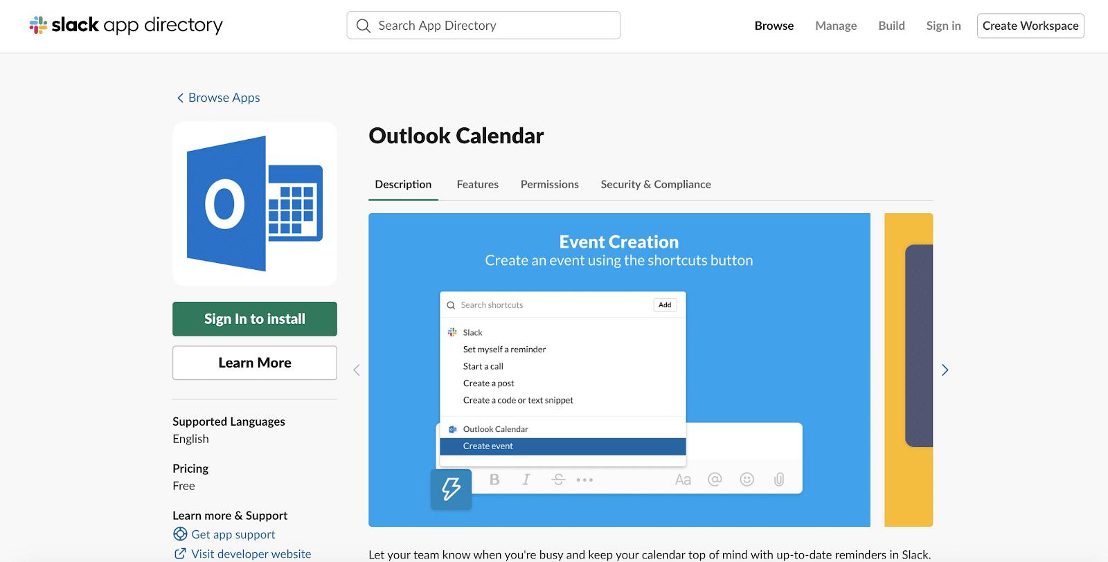 Outlook Calendarfor Slack