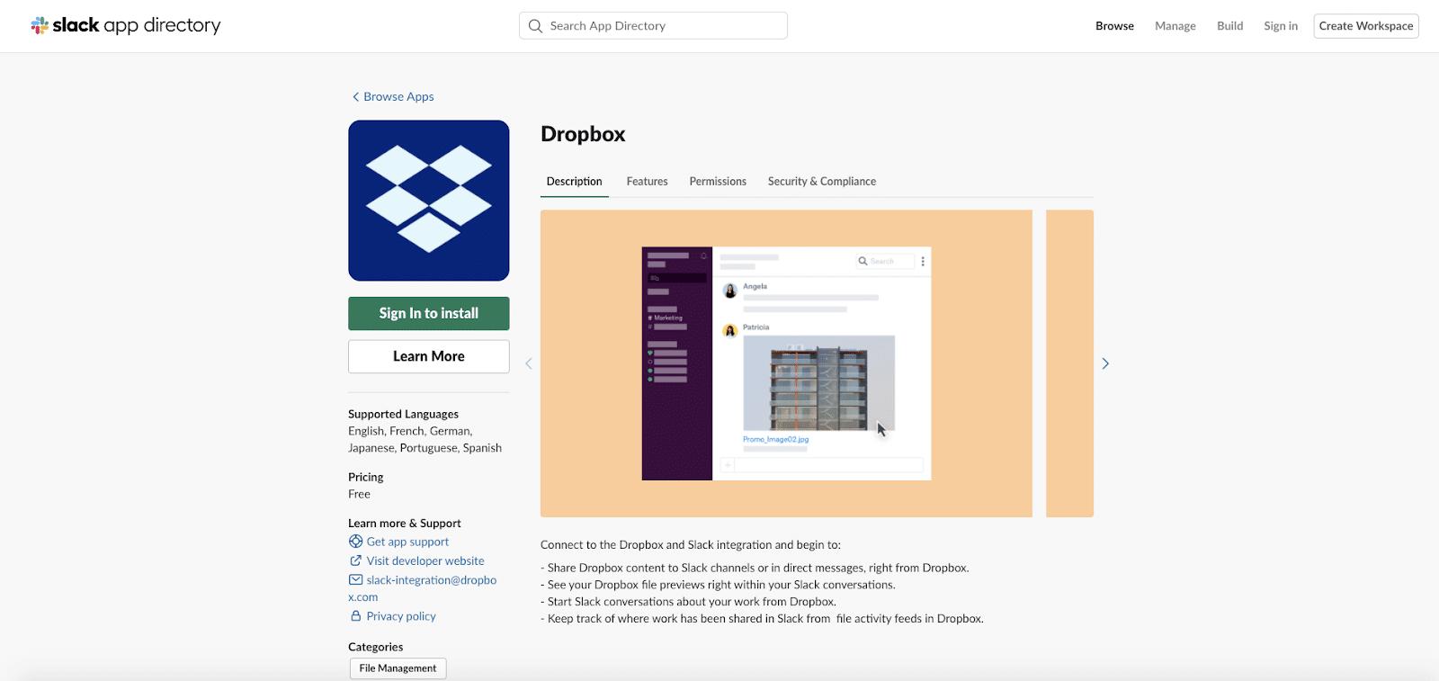 Dropbox app for Slack