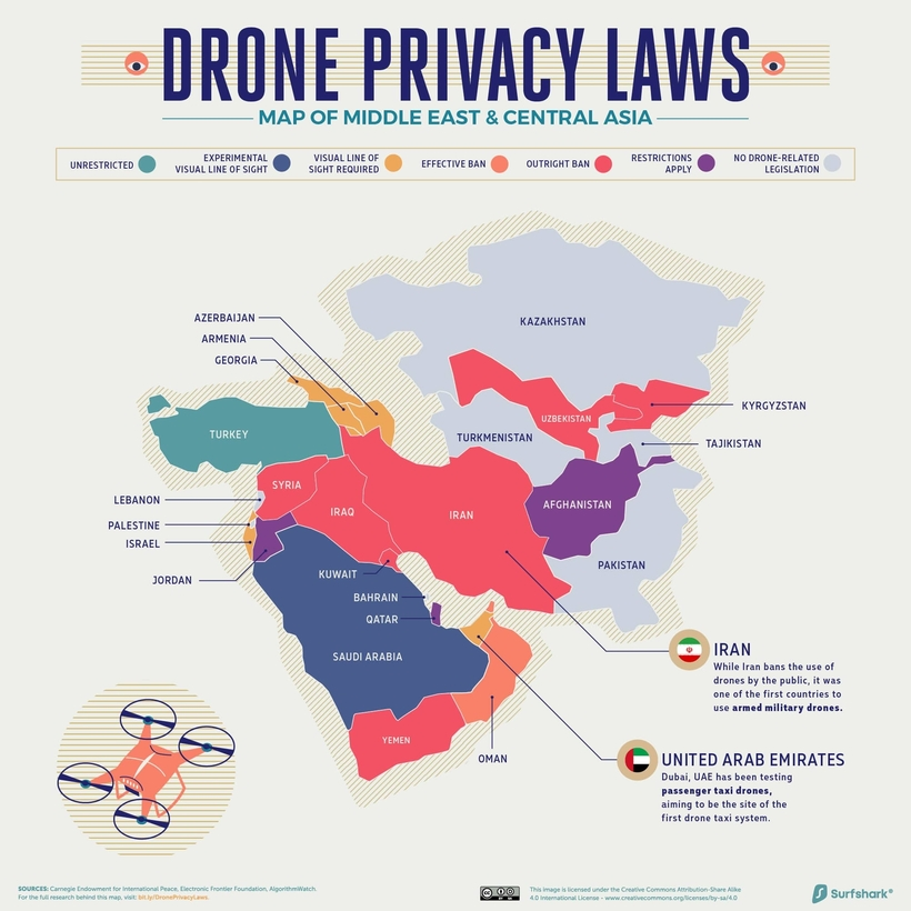 Drone Privacy Laws 820px Middle east and central asia