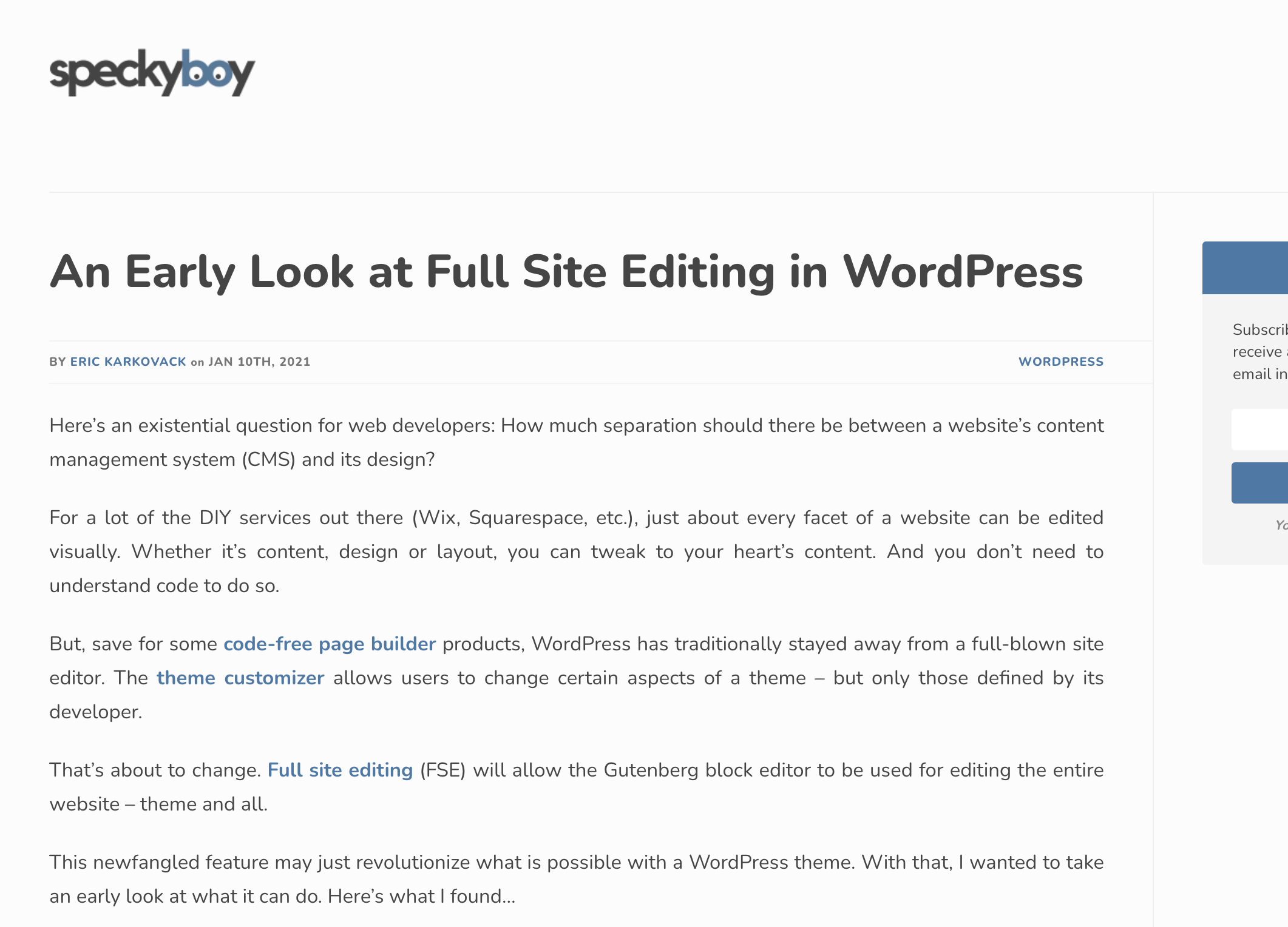 A Quick Tour of Full-Site Editing in WordPress