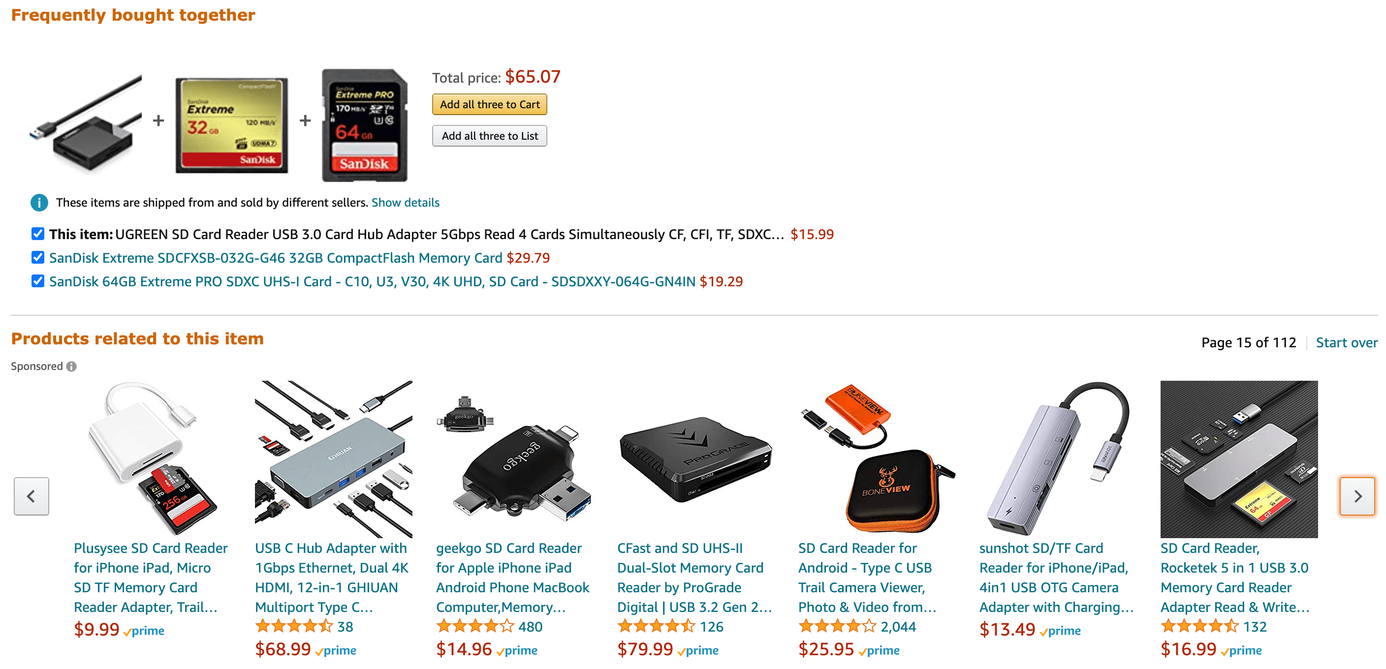 Amazon recommended products.