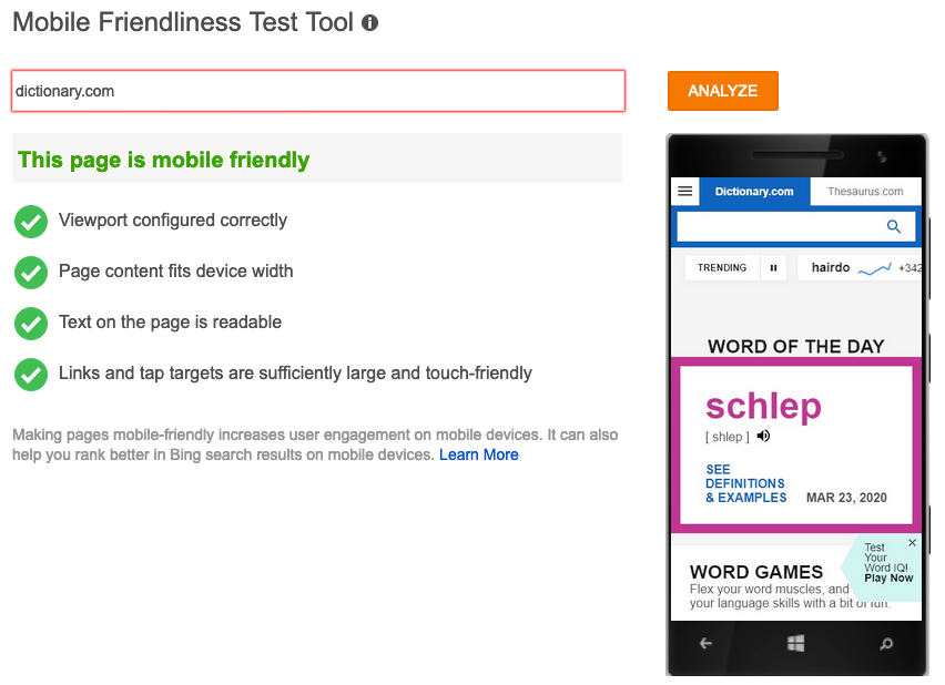 bing webmaster tools mobile friendliness