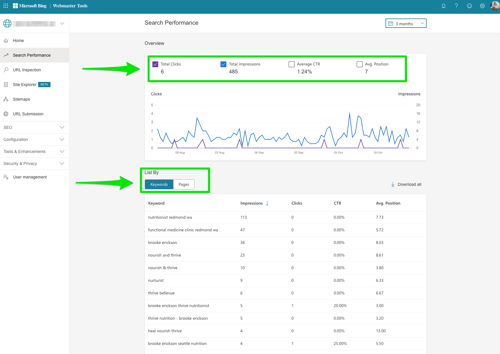 bing webmaster tools search performance