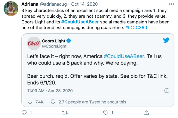 Coors Light's #CouldUseABeer was one of the best social media campaigns of the year.