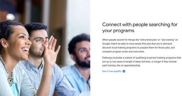 Screenshot of Google Pathways page