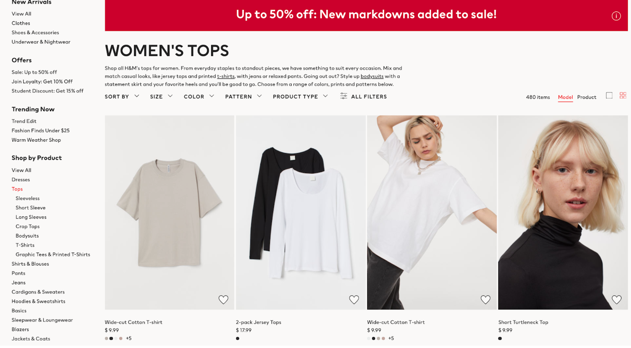 H&M Category Page for women's tops
