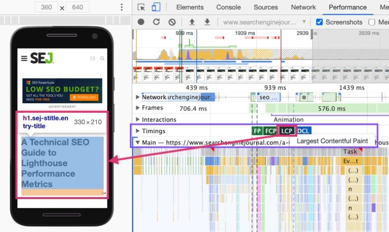 Lighthouse Performance Metrics: LCP marketing in DevTools highlighting and declaring the node for LCP