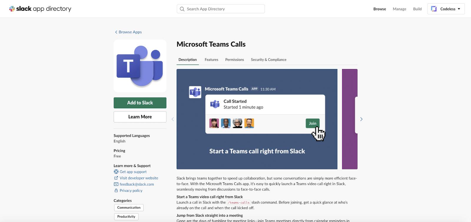 Microsoft Teams Calls app for Slack