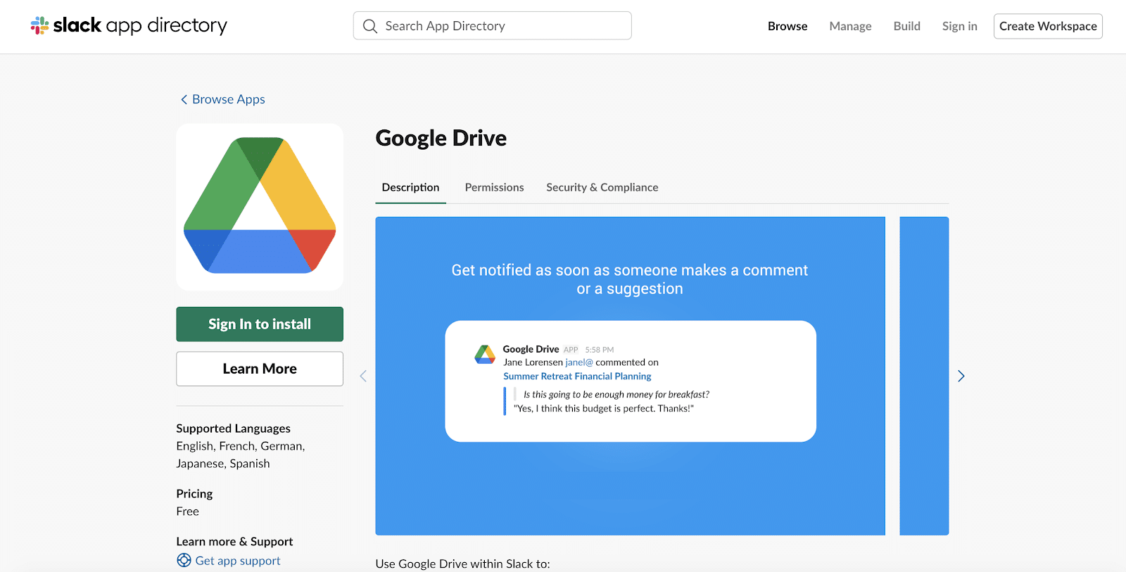 Google Drive app for Slack