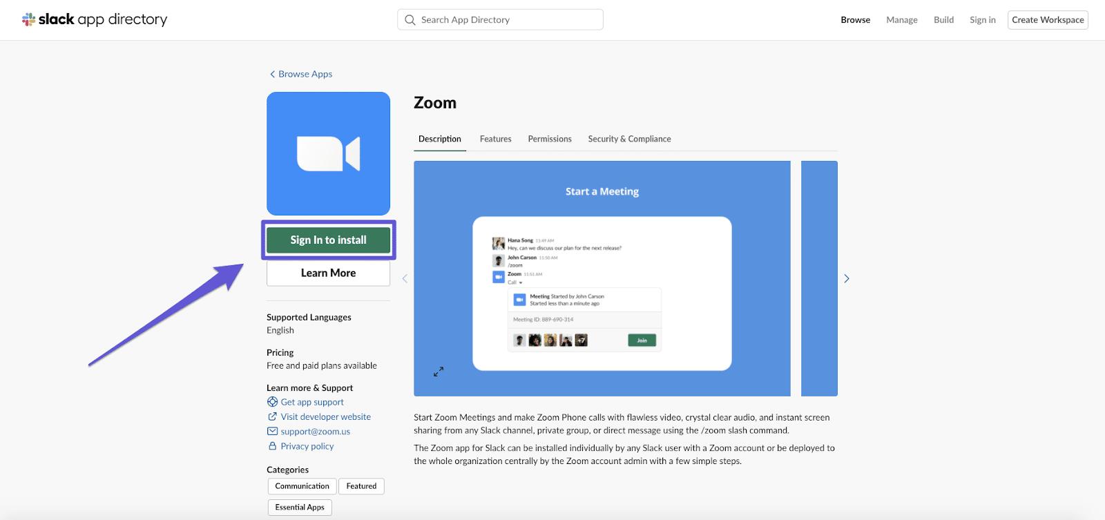 Installing Zoom on Slack