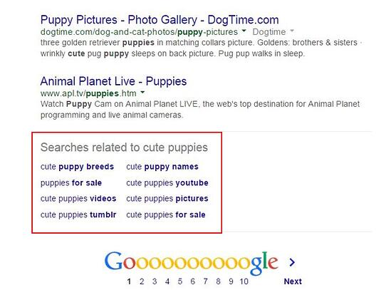 """Related searches at the bottom of Google SERP that reads """"searches related to cute puppies"""" along with keyword suggestions"""