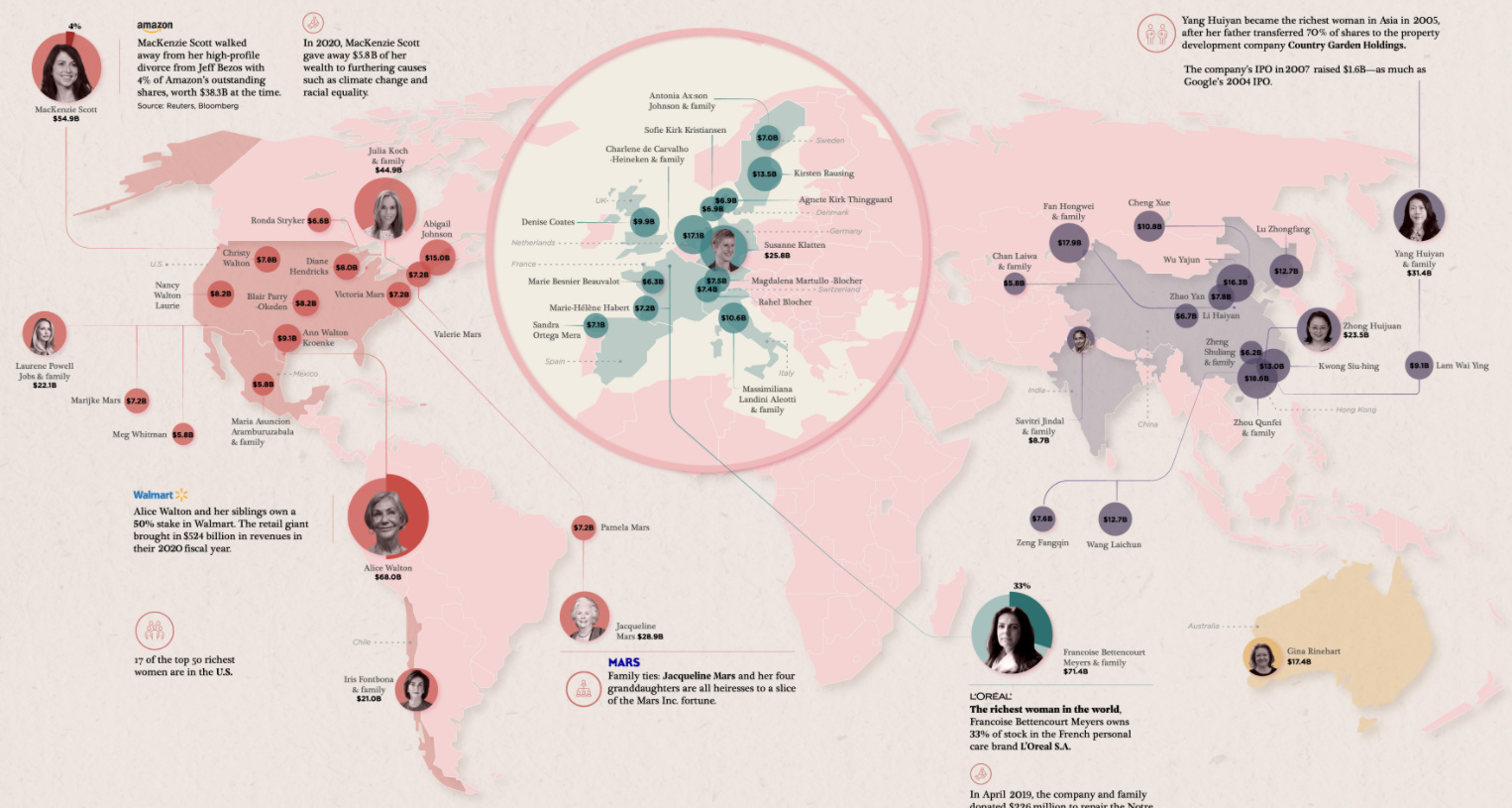 Mapped: The 50 Richest Women in the World in 2021
