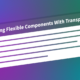 A panel component superimposed in 3D over a colorful gradient background. The panel header has a transparent background and reads