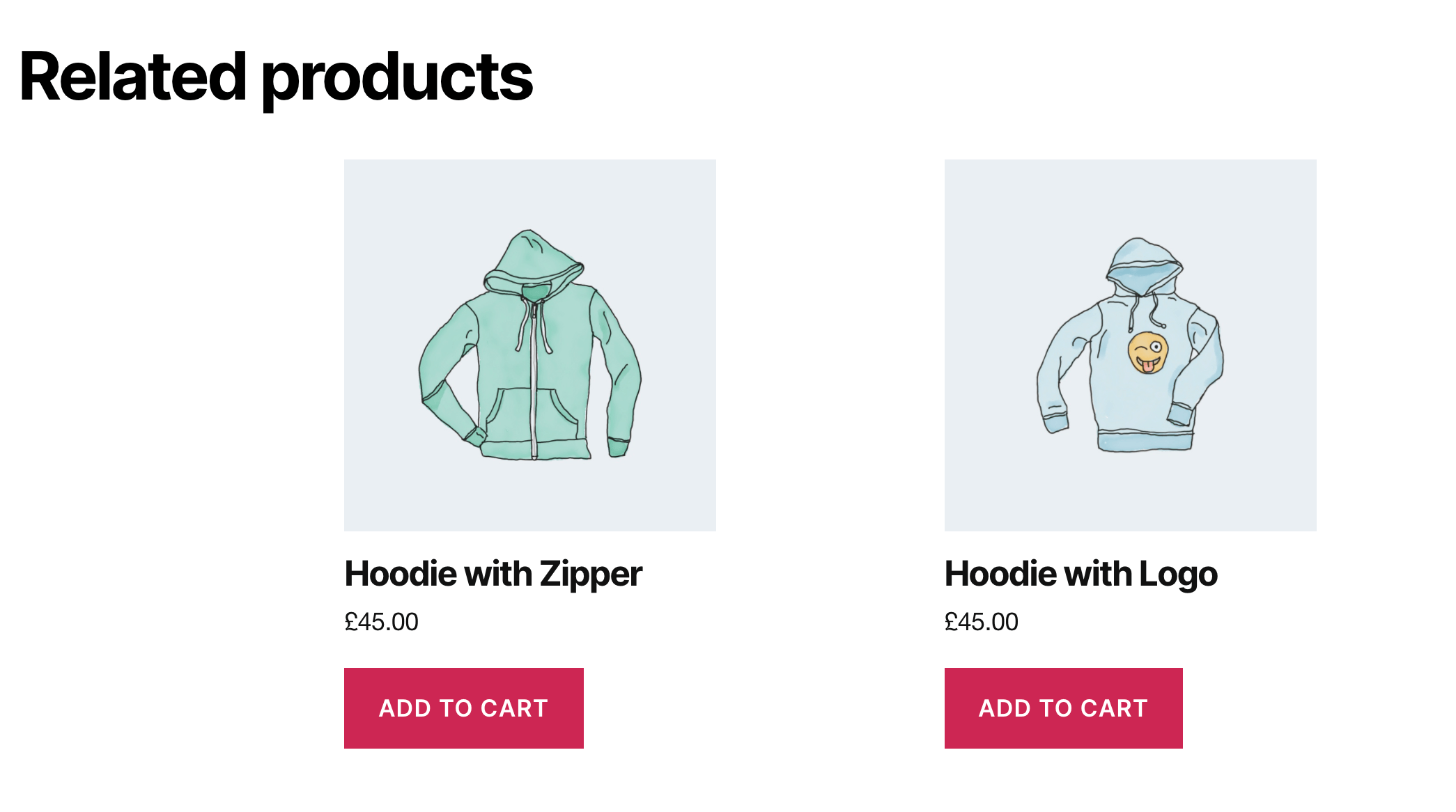 WooCommerce's built-in related products feature.