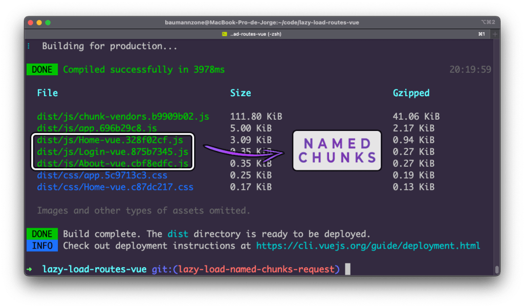 """This is the same terminal screenshot as before, but with three of the JavaScript built files highlighted with the words """"Named Chunks"""" annotated beside them."""