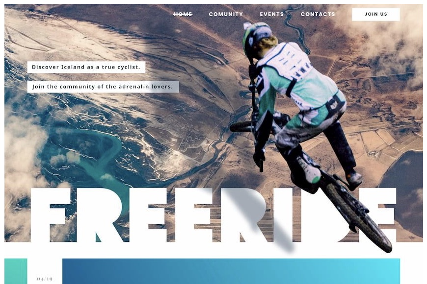 A view of a BMX biker from above leaping over a vast area of light brown land with the words free ride along the bottom edge in large, bold, and white block lettering.