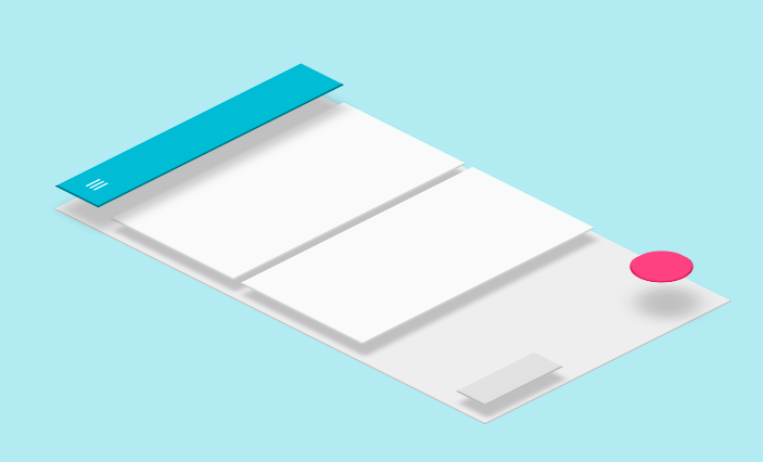 Showing a mobile screen flat on a light blue background with header, box, and navigational elements elevated over the screen showing depth.