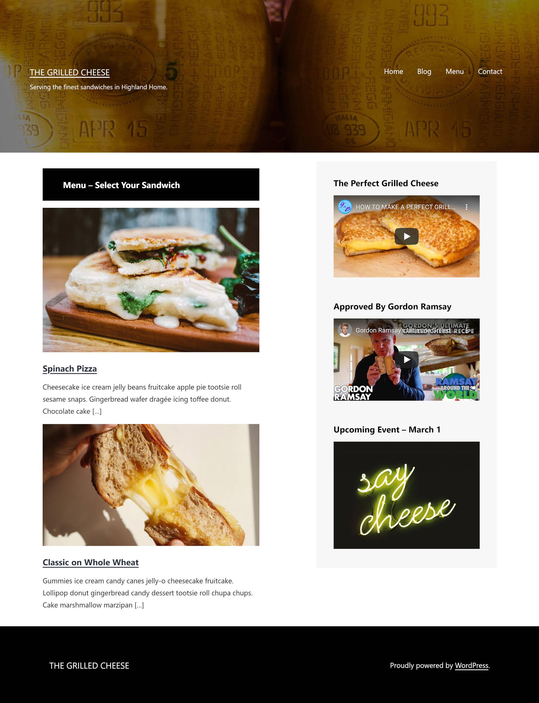 Custom-designed homepage via Gutenberg's site editor for a fictitious restaurant.