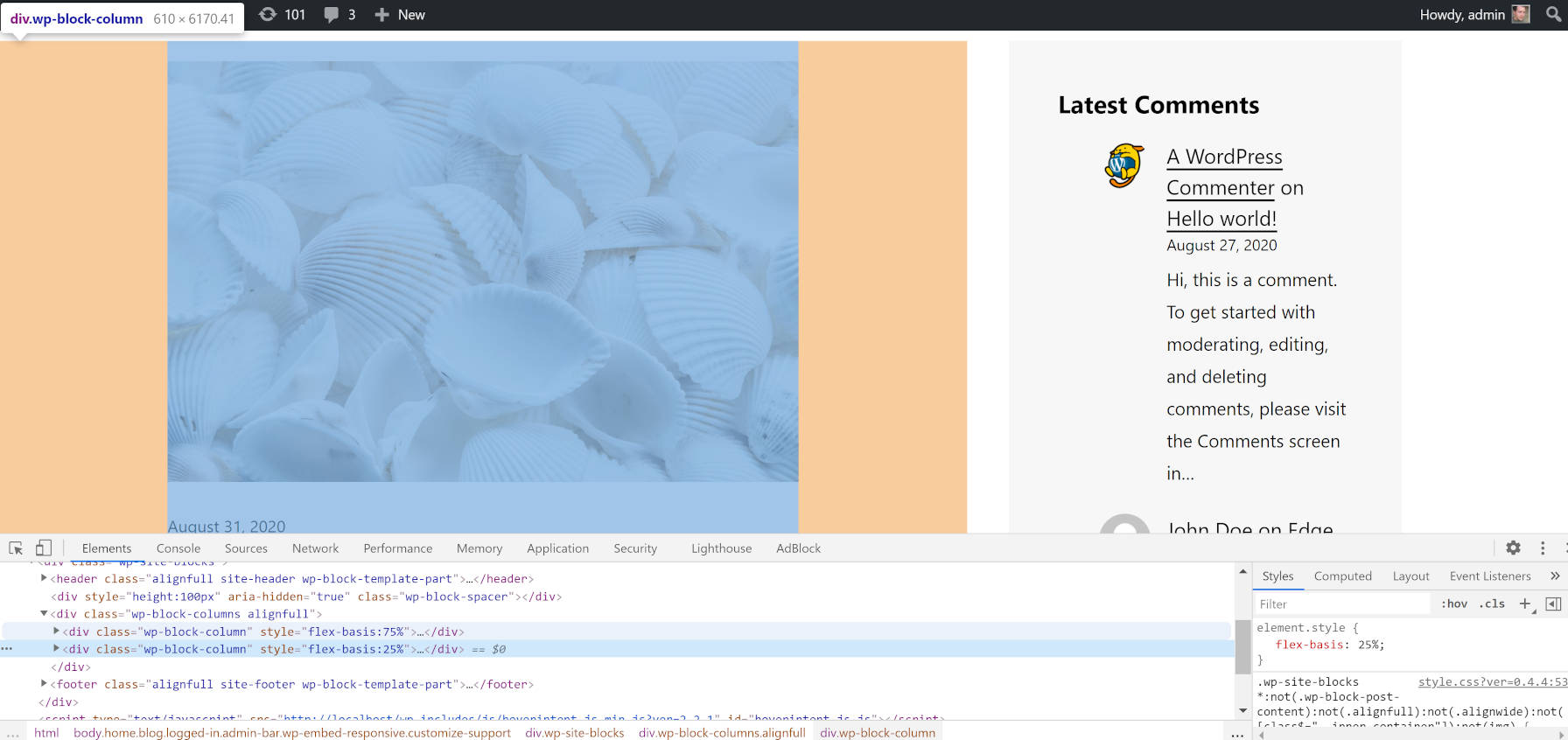 Inspecting the output of full-width columns from the site editor.