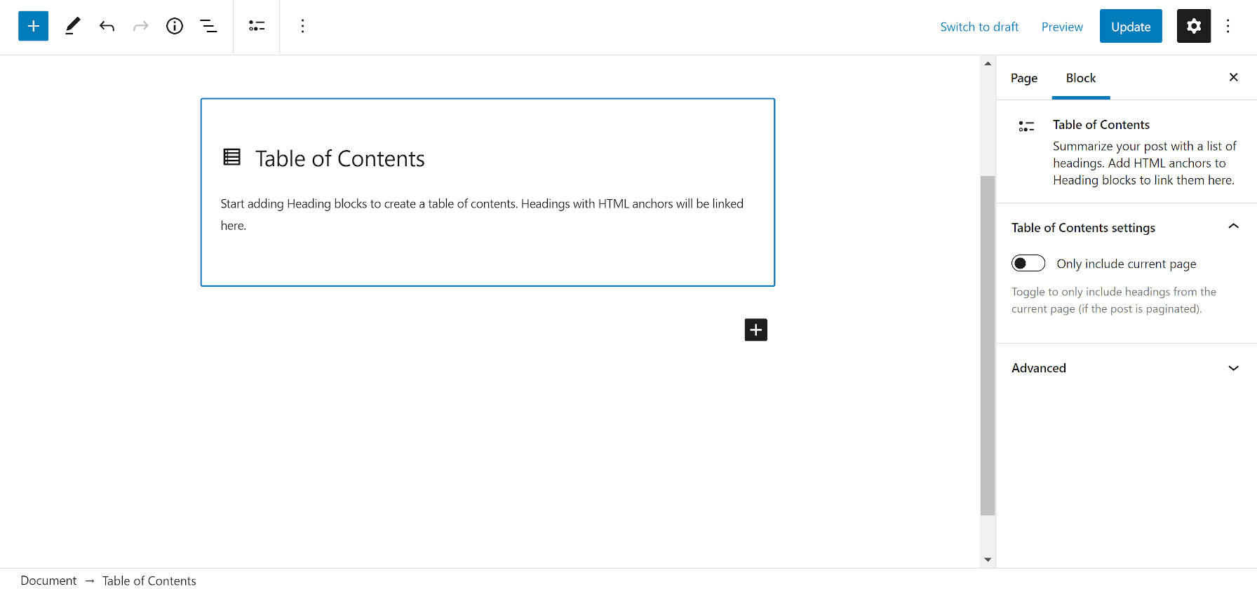 Initial state of the Table of Contents block, displaying a helper message to add Headings with HTML anchors.