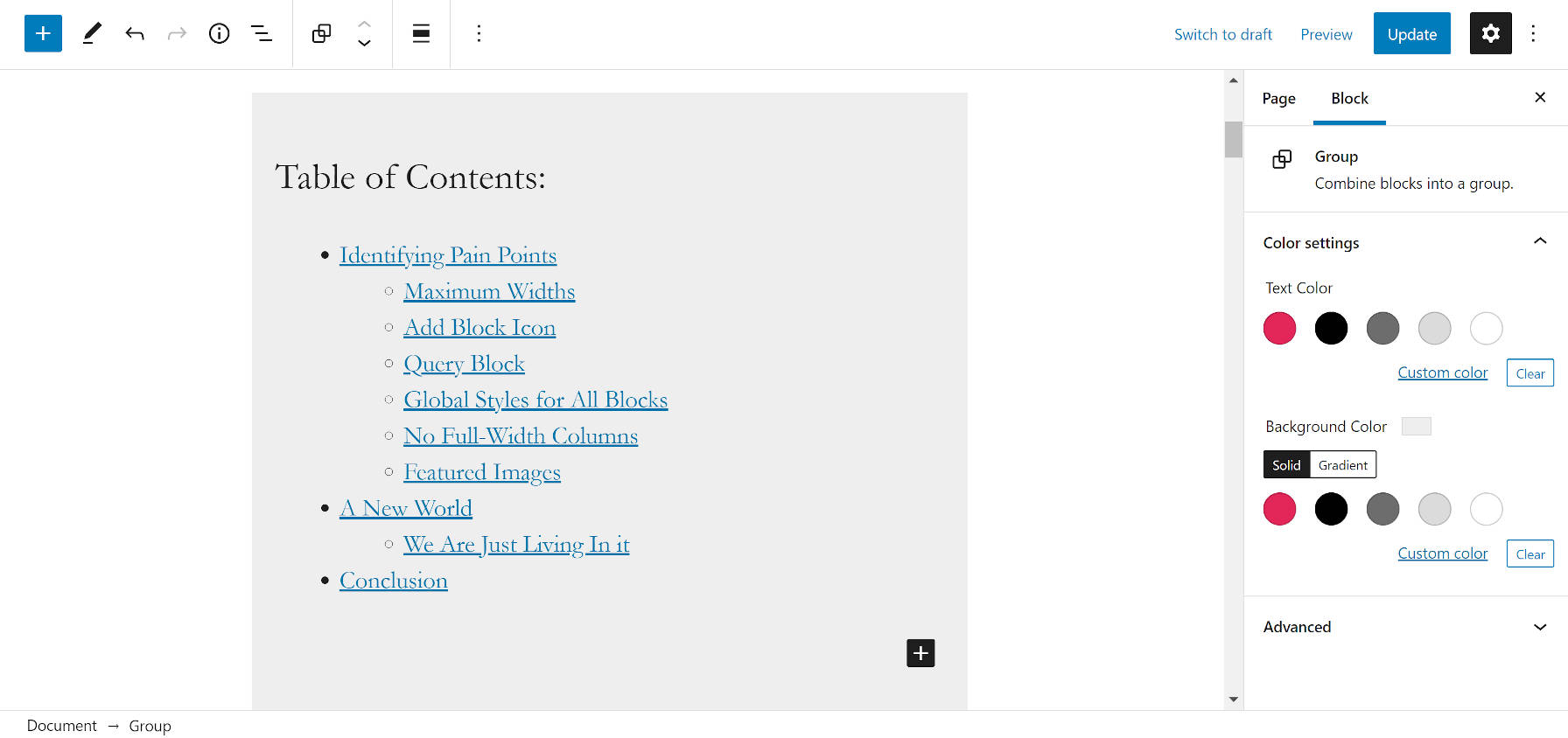 Grouping the Table of Contents block into a Group block in the WordPress editor.