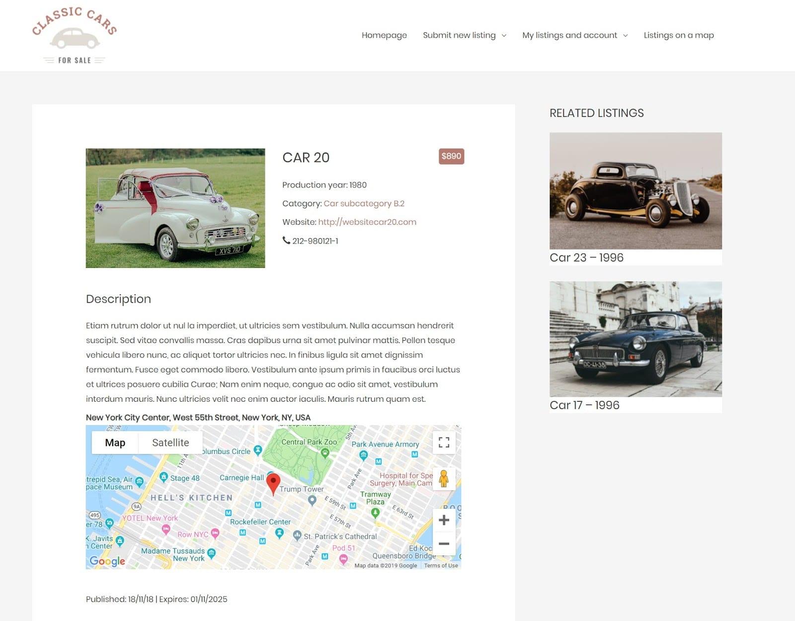 Directory website screenshot