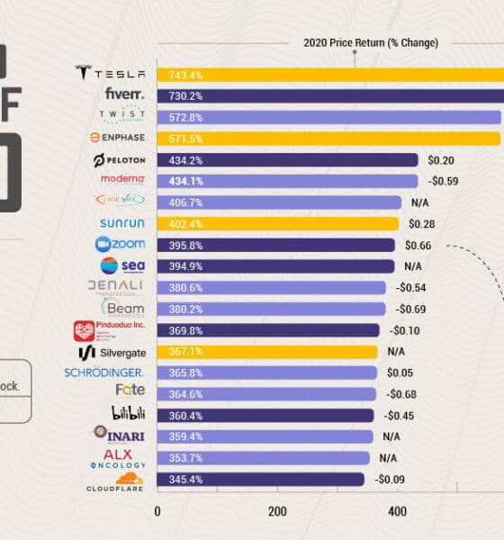 Chart: The 20 Top Stocks of 2020 by Price Return