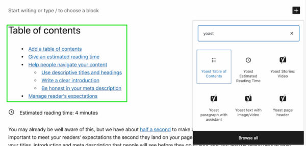 manage readers expectations with the Yoast table of contents block