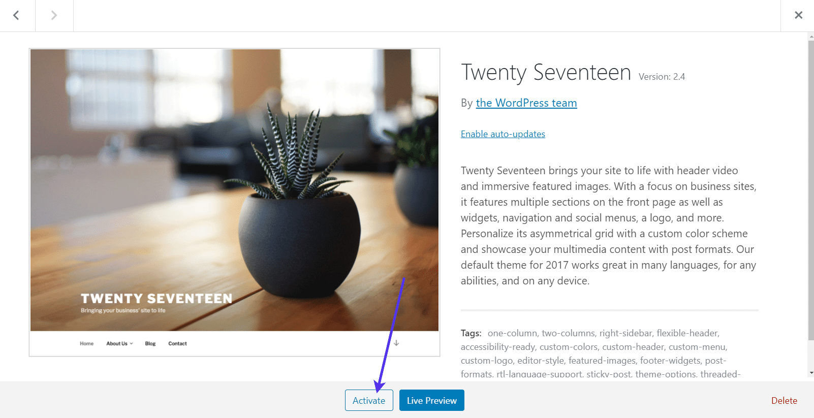 Activating a WordPress theme