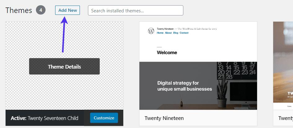 Adding a new theme in WordPress