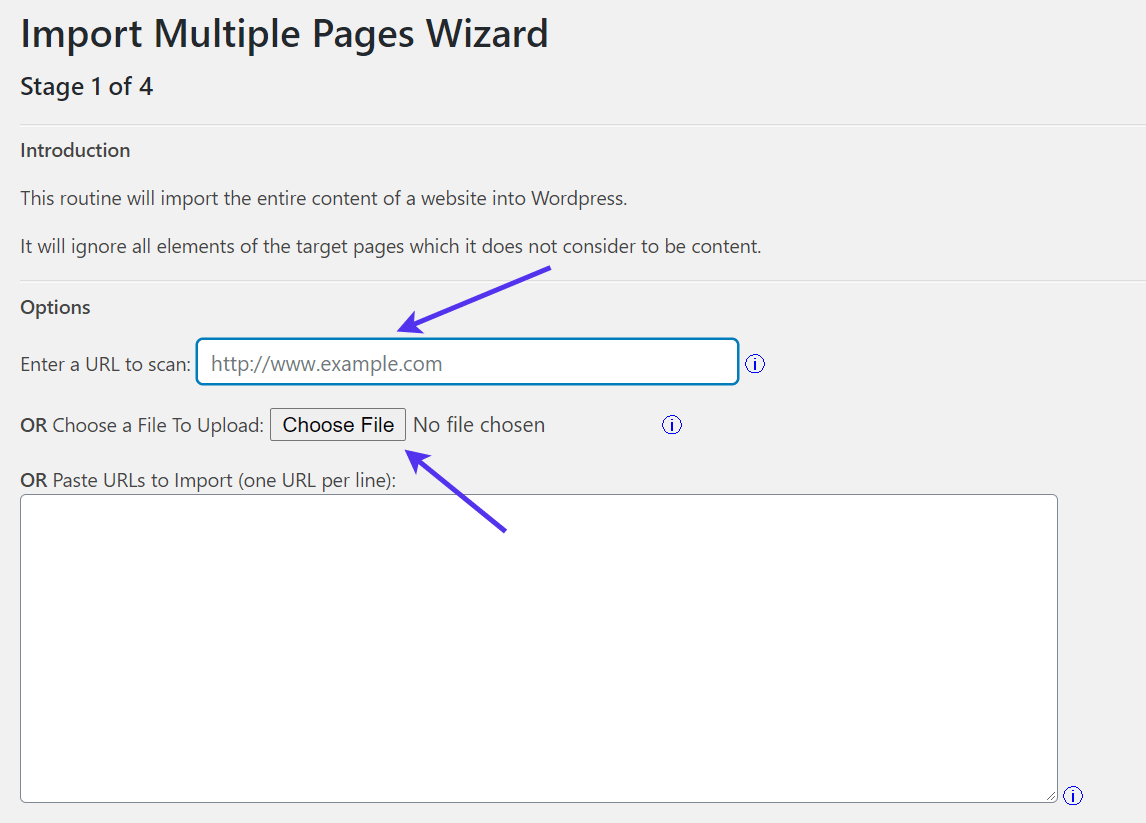 Enter the URL to scan for import