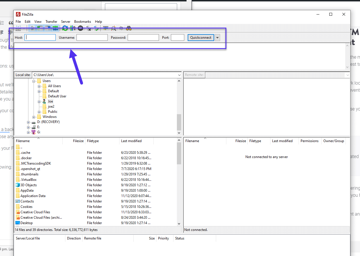 Enter your SFTP credentials in Filezilla