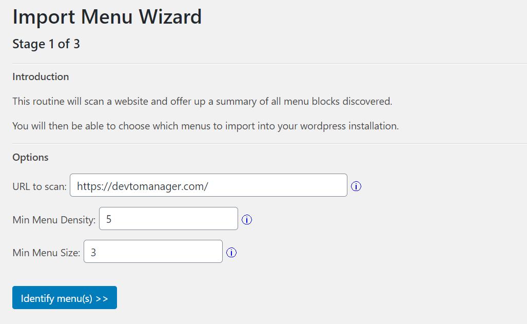 The 'Import Menu Wizard' panel