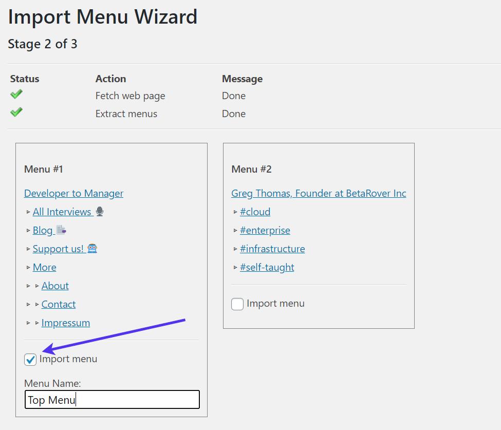 Importing a menu