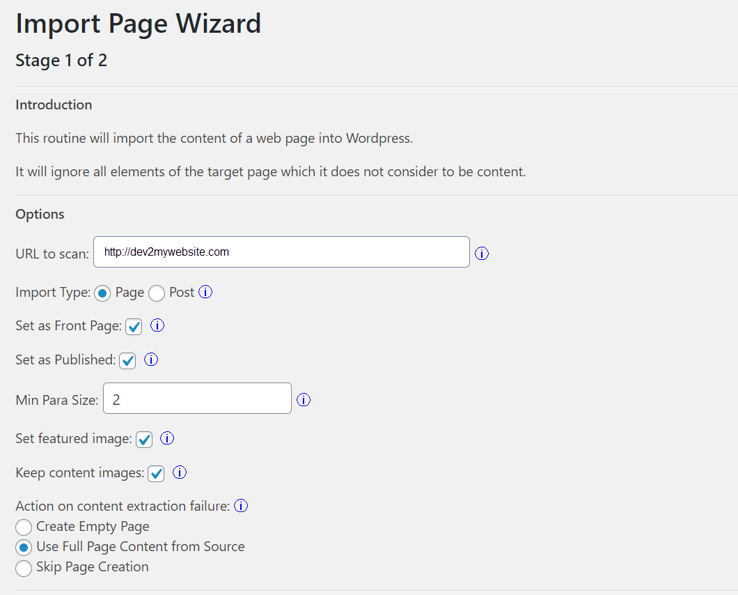 The import page wizard
