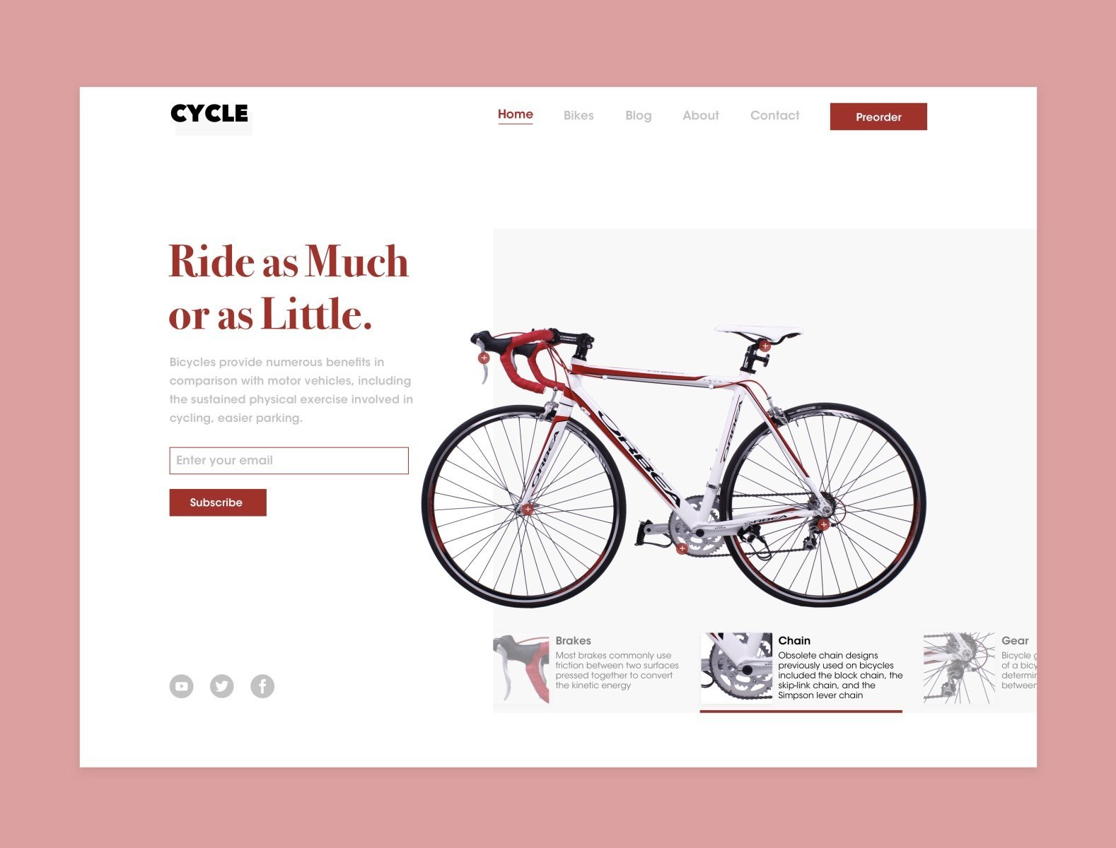 """Screenshot of a webpage with a light pink background with a white box that contains the site content with a headline that reads """"Ride as Much or as Little"""" in red, an email subscription form, and a large image of a red and white bicycle to the right."""