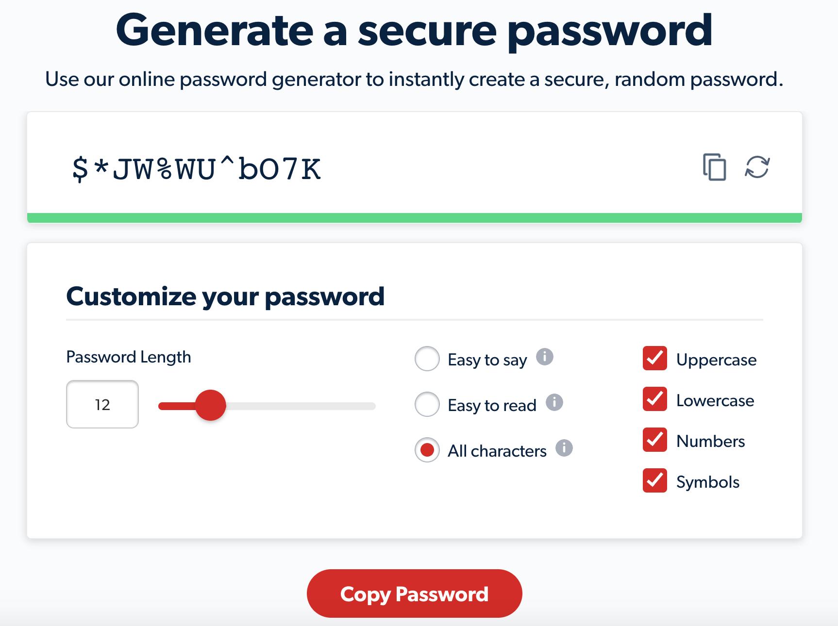 The LastPass admin password generator.