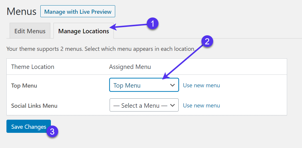 Change the menu location if needed