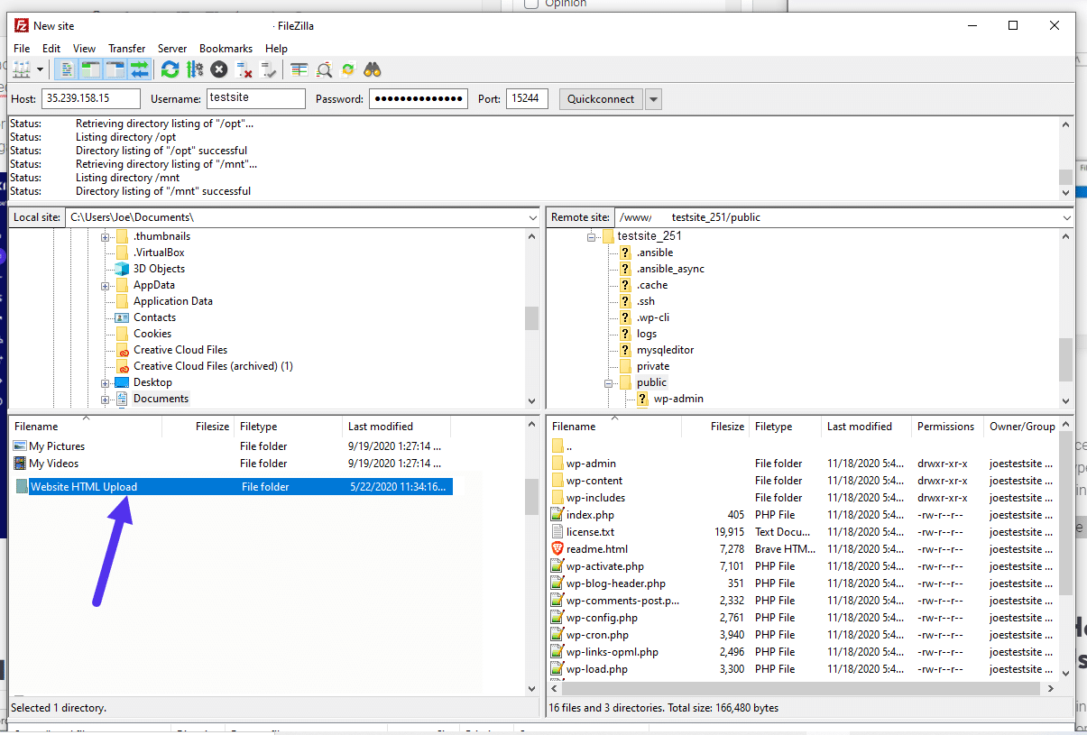 Drag the file over to upload it to your server