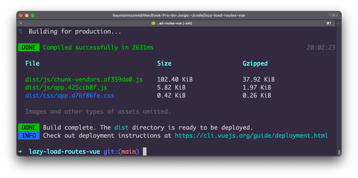 This is a terminal screenshot with a dark purple background with text in white green and blue. The content shows the final build after compiling.