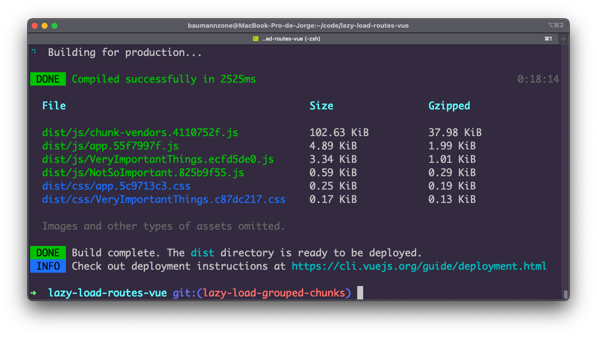 The same terminal with different compiled JavaScript files.