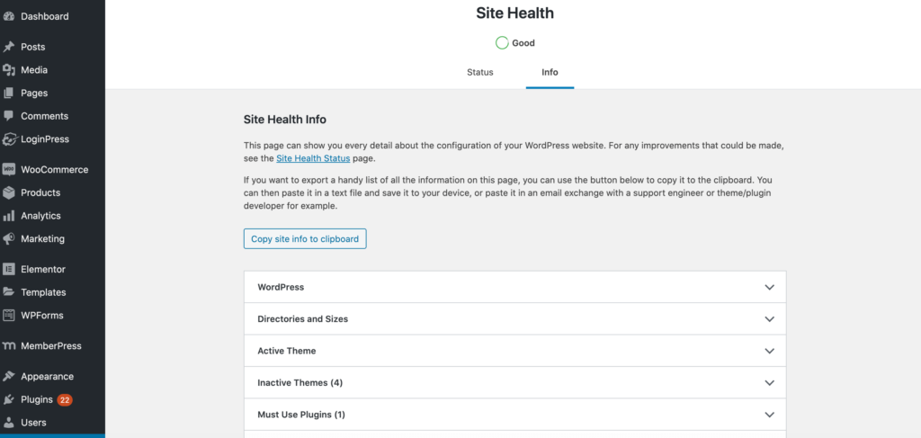 Configuration information, displayed as part of the Site Health Check dashboard.