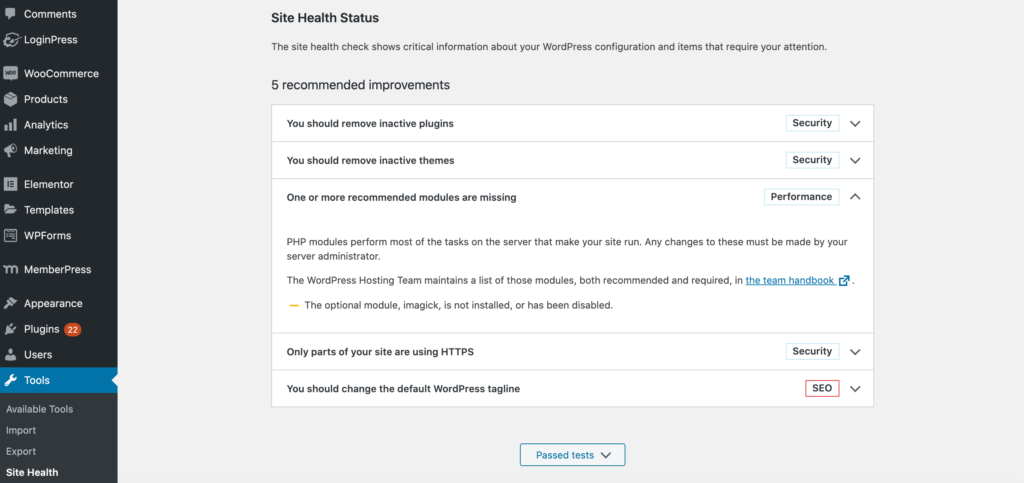 The WordPress Site Health Check status information.