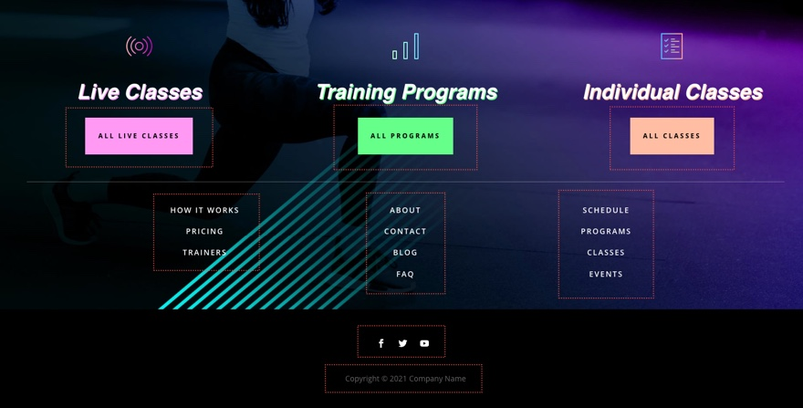virtual fitness header and footer template