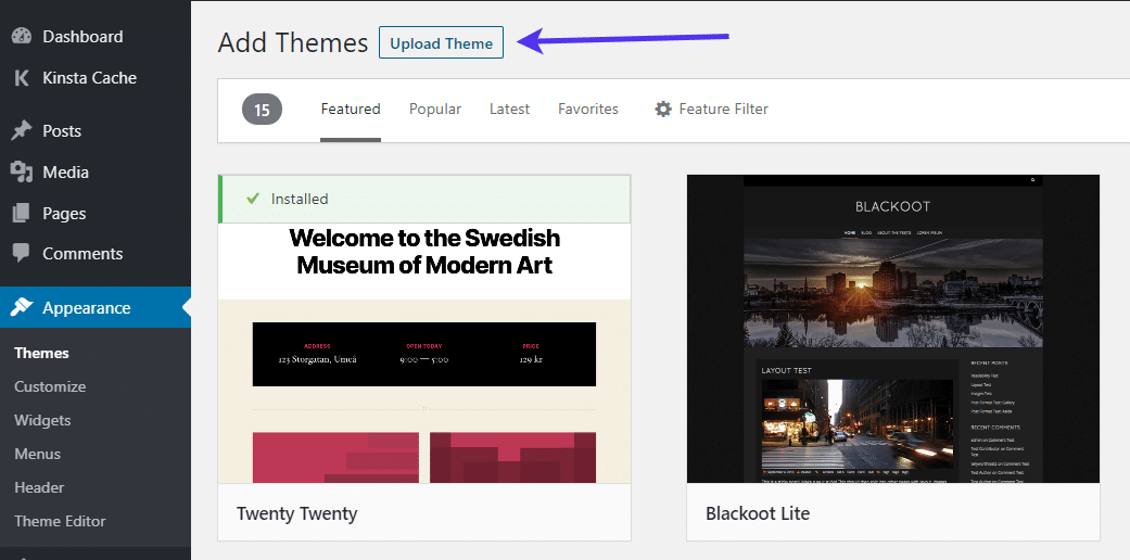 Uploading a theme in WordPress