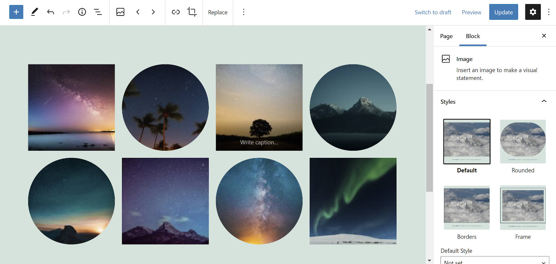 Gallery block in the WordPress editor with alternating round and square image shapes.