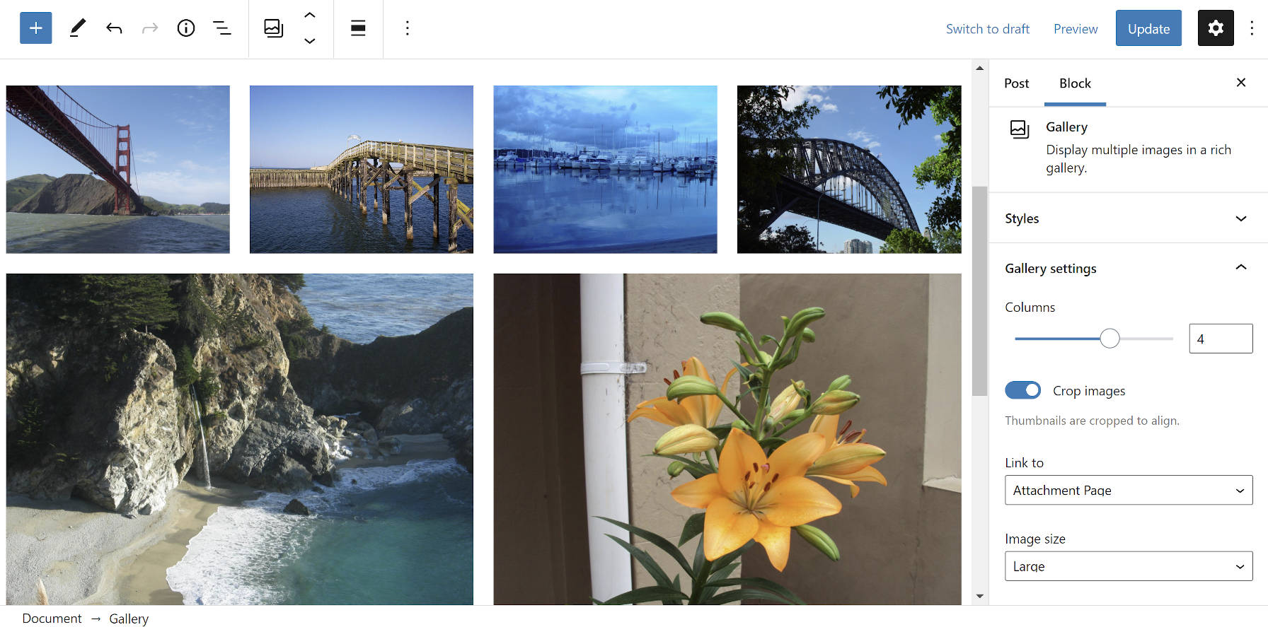 Converted classic gallery post to blocks in the WordPress editor.