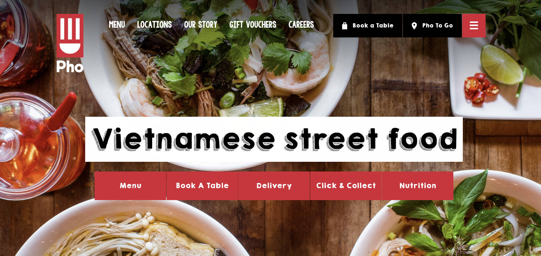 Screenshot of the Pho Cafe website page header.