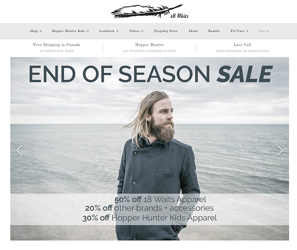 18 waits Example of Inspiring Shopify Ecommerce Stores