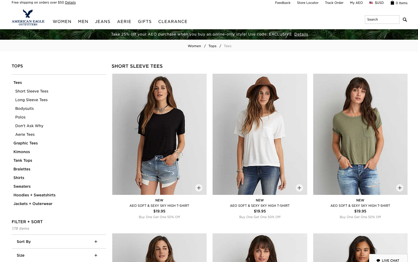 American Eagle Outfitters Infinite Scroll